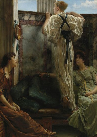 Alma-Tadema, Sir Lawrence: Who is it?. Fine Art Print/Poster. Sizes: A4/A3/A2/A1 (003790)